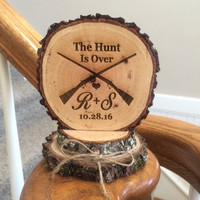 Wood Wedding Cake Topper, Rustic Cake Topper, The Hunt Is Over, Custom Cake Topper, Engraved Cake Topper, Barn Wedding, Hunter Gun Topper