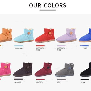 2018 UBZ brand Classic genuine cowhide leather snow boots 100% Warm Women Boots with bottom winter shoes for women