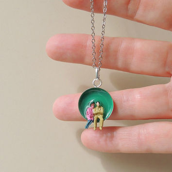 Little People Necklace, Whimsical Diorama Lilliput Figures Resin Pendant, Teal, Figurine, Resin Jewelry, Quirky Jewelry, Kitsch (1099)