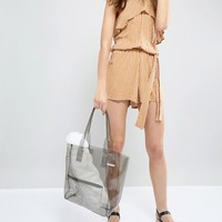 Chateau Clear Gray Jelly Tote with Wristlet Clutch at asos.com