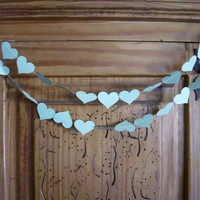 MINT GREEN Paper Heart Garland, Weddings, Receptions, Bridal or Baby Showers, Birthday Party, All Occasion