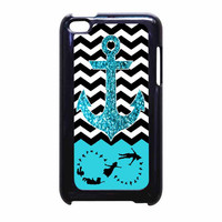 Peter Pan Mint Glitter Anchor Black Chevron iPod Touch 4th Generation Case