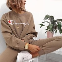 Champion Fashion Wool Embroider Long Sleeve Pullover Top Sweater