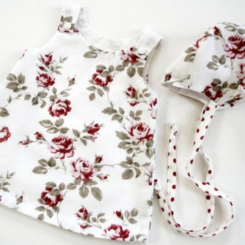 Baby dress with matching baby bonnet infant dress a-line dress pink floral lined dress new baby shower gift summer outfit size newborn to 3m