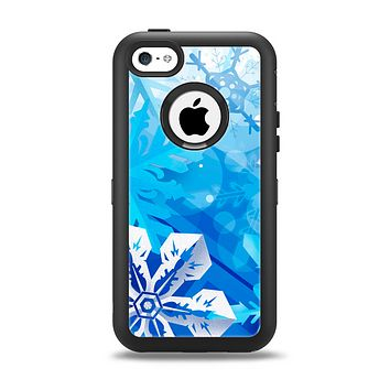 The Winter Abstract Blue Apple iPhone 5c Otterbox Defender Case Skin Set