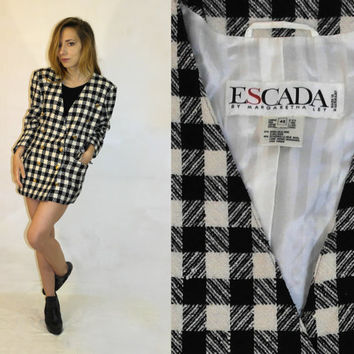 Vintage Escada Margaretha Ley blazer  / Vintage Designer jacket / Checkered jacket /  Silk wool blend blazer / Made in West Germany