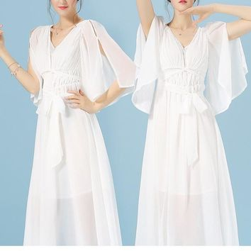 White Sashes Tie Back Tulle Plunging Neckline Flowy Bridesmaid Maxi Dress