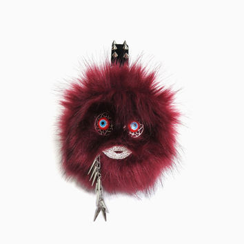 Burgundy earmuffs/monster faux fur ear muffs/scream queens/scream queens earmuffs/fur earmuffs/plush/ear warmers/murano glass evil eye beads