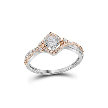 10kt Two-tone White Gold Womens Round Diamond Solitaire Rose-accent Ring 1/5 Cttw