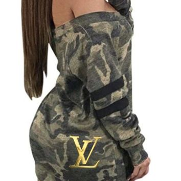 Camoflauge Gold Louis Vuitton Logo Dress