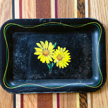 Petite Black Tole Tray Hand Painted Yellow Daisies