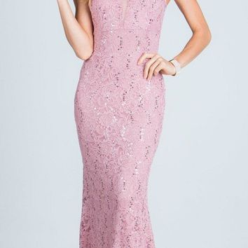 Blush Sleeveless Fit and Flare Evening Gown with Illusion Inset