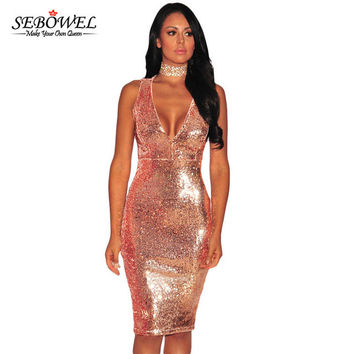 SEBOWEL 2017 Party Dresses Sexy Womens Vestido Lentejuelas Rose/Burgundy Liquid Sequins Cutout Back Club Dress Summer