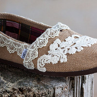 Custom Wedding TOMS - Lace TOMS - The Vine Design