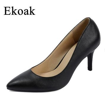Ekoak New 2017 women pointed toe high heels Sexy soft Genuine Leather ladies women pum