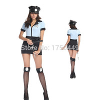 Fantasias Party Costume Sexy Female Police Uniform Police Style Sexy Cop Cosplay Costume 4 Pcs Sex Game Uniform Night Clubwear