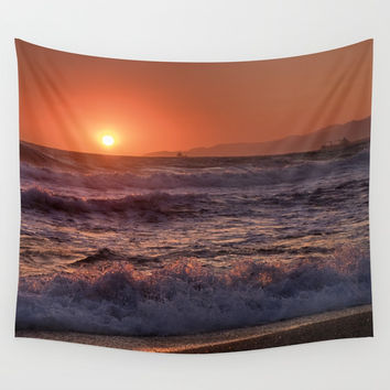 Beautiful Waves At Sunset. Wall Tapestry by Guido Montañés