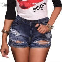 Liooil Sexy Ripped Women Shorts 2017 New Hole Mid Waist  Pockets Skinny Denim Shorts Hollow Out Plus Size Summer Shorts Jeans