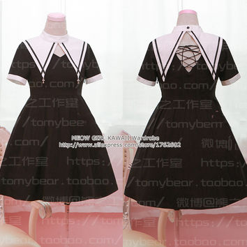 Gothic Lolita Darkness Style Dress Sister Style with Fake Collar Lace Short Sleeves Cute Cross Pendant Back Tie Black Dress