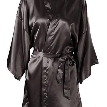 Wedding Bride Bridesmaid Silk Satin Robe Floral Bathrobe Short Kimono Robe Night Robe Bath Robe Fashion Dressing Gown For Women