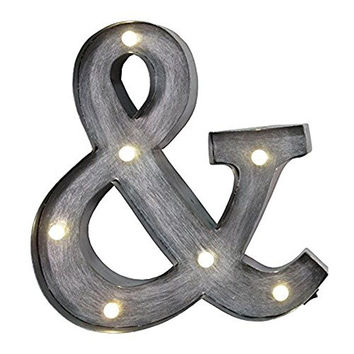 "Ampersand - Illuminated Marquee Sign ""&"" - 12-in (Brushed Metal)"