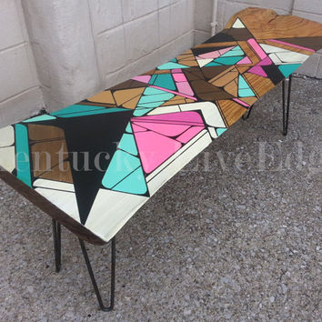 Geometric Painted Coffee Table- Pink- Teal- Blue- Coffee Table- Bench- Modern Furniture- Handmade- Painted Table- Graphic Art- Wood Table