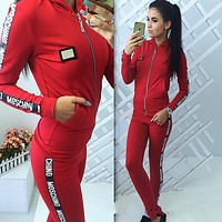 ''MOSCHINO'' Fashion Hoodie Top Sweater Pants Trousers Set Two-piece Sportswear Dark blue Red