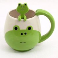 Panda, Pig, Cat, Frog Face Coffee/Tea Ceramic Mug & Spoon Set -  Decole Japan