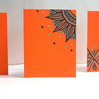 Tangerine Orange Hand Drawn Note Cards - Blank - Set of 3 - Envelopes included