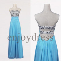 Custom Blue Beaded Long Prom Dress Formal Evening Gowns Wedding Party Dresses Formal Party Dresses Bridesmaid Dresses 2014 Cocktail Dress