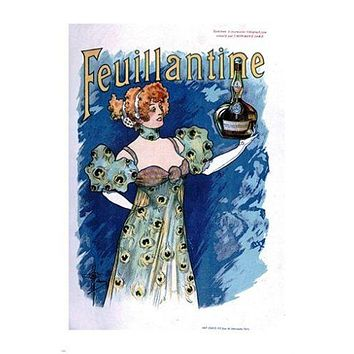 feuillantine FRENCH LIQUOR AD beautiful gown OLD SCHOOL style RARE 24X36 hot