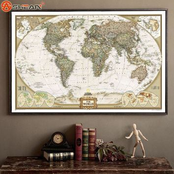 PEAPGB2 Vintage Retro Matte Kraft Paper World Map Antique Poster Wall Sticker Home Decora 72.5*47.5CM