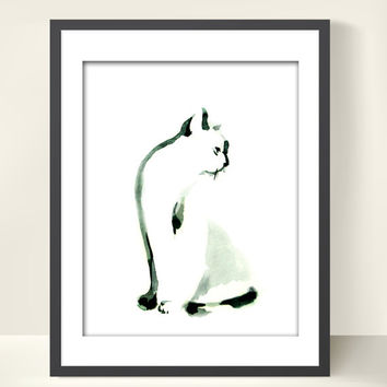 Minimalist Cat - Watercolor Painting Art Print - Cat Art - Cat Painting - Black and White - Modern Art
