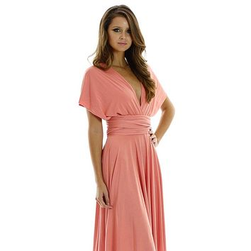 Long Coral Convertible Jersey Dress 20 Different Looks