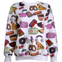ZLYC Women's Snacks Food Print Sweatshirt Novelty Hoodie