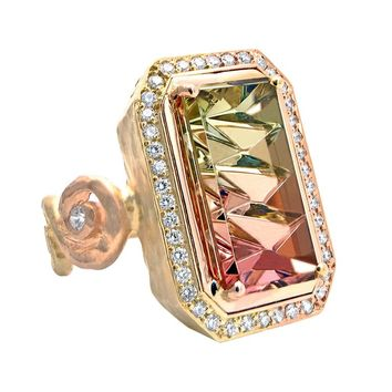 Pamela Froman White Diamond John Dyer Watermelon Tourmaline Mixed Gold Ring