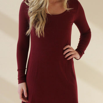 Simple and Chic Knit Dress - Burgundy