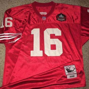 PEAPYD9 Sale!! Vintage San Francisco SF 49ers throwback 2000 Football Jersey NFL #16 Montana t