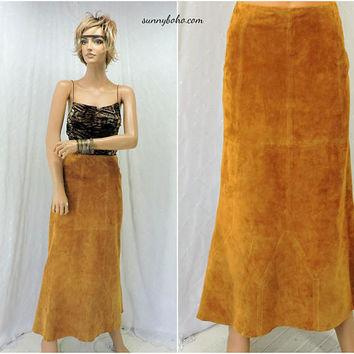 70s leather suede maxi skirt / size 7 / 8 / boho western festival skirt / brown long leather skirt / suede maxi skirt /  SunnyBohoVintage