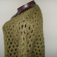 For the Mr or Mrs/Ms/ Ready to ship /GORGEOUS Handmade Knitted green Luxury Mohair Sweater/Size small to large