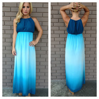 Aquamarine Ombre Maxi Dress