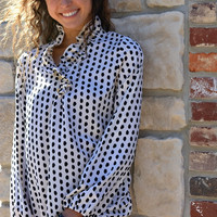 Whitney Ruffle Long Sleeve Tunic - Pearl/Black Dot