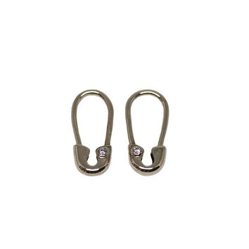 Solid 14 Karat White Gold Mini Diamond Safety Pin Earrings (Pair)