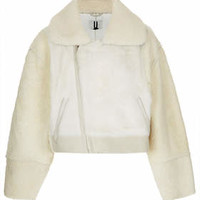 **Shearling Crop Bomber Jacket by Unique - Cream