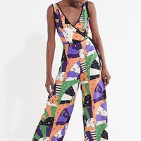 UO Patchwork Surplice Jumpsuit | Urban Outfitters