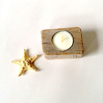 Driftwood Candle Holder - Single Tea Light - Eco Friendly, Natural Handmade Beach House Rustic Home Decor