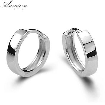 Anenjery pendientes 925 Sterling Silver Smooth Surface Stud Earrings For Women Men brincos  oorbellen boucle d'oreille S-E15