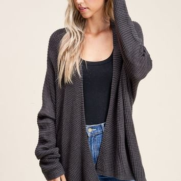 Breezy Day's Charcoal Solid Waffle Knit Cardigan