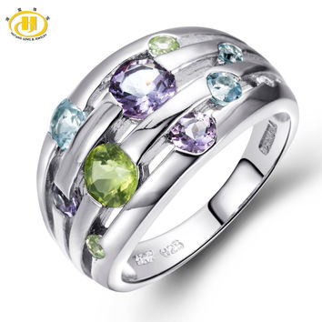 Natural Peridot Amethyst Blue Topaz Solid 925 Sterling Silver Ring Colorful Gemstones Fine Jewelry