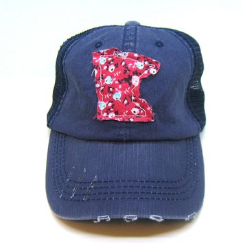 Minnesota Hat - Navy Blue Distressed Trucker Hat - Red Floral Applique - All United States Available